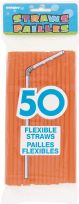 Orange Plastic Straws (50)